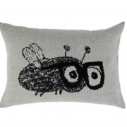 Fun and artistic knitted cushion Mr. Fly Guy in premium quality Italian woolen mix colors grey, black and white