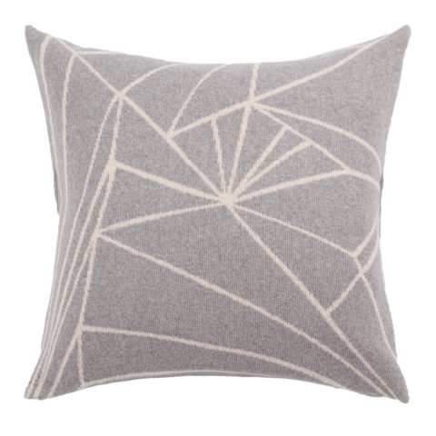 Frozen graphical pattern grey and beige  knitted woolen cushion of premium quality Italian woolen blend incl. inner cushion made in Denmark