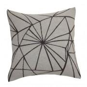 Frozen graphical pattern dark grey knitted woolen cushion of premium quality Italian woolen blend incl. inner cushion made in Denmark