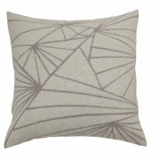 Frozen graphical pattern light grey knitted woolen cushion of premium quality Italian woolen blend incl. inner cushion made in Denmark
