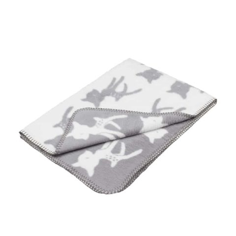 grey and white designer baby blanket with bambi in soft organic cotton