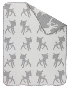 super soft brushed cotton big baby blanket with sweet bambi pattern in light grey and white color