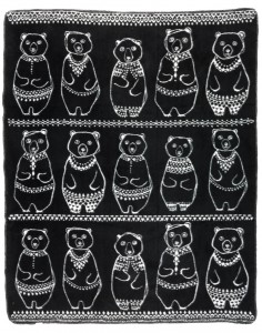 A fun and inspiring luxuriously soft woven cotton blanket Greeland Gang black and white