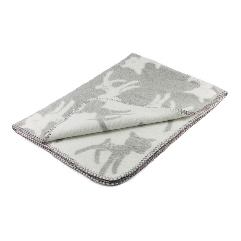 super soft brushed cotton baby blanket with sweet bambi pattern in light grey and white color