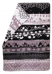 extra big soft brushed organic cotton blanket  in black, grey and white color combination