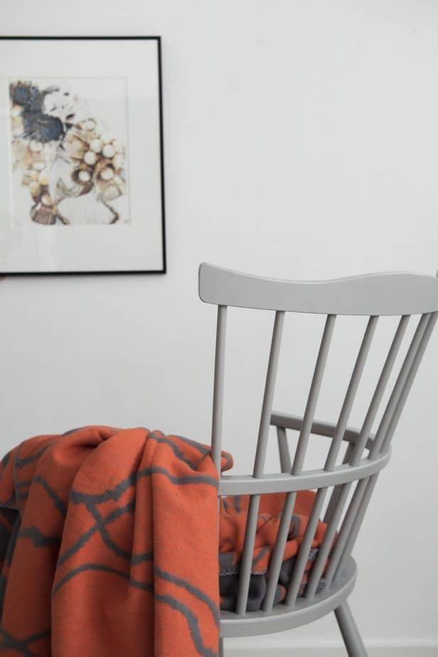 soft  organic cotton blanket  in vivid orange and grey