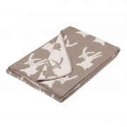 ultra soft plaid with timeless bambi design in beige and offwhite
