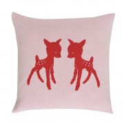 funky red and light pink knitted cushion with bambi for a sweet girl room