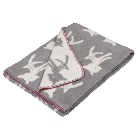 super soft cotton blanket with sweet bambi in grey / offwhite with a contrasting pink boarding. perfect for a child's room as a bed cover or for a reading corner