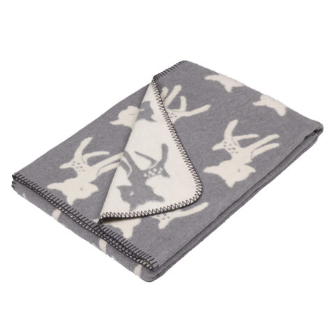 cotton blanket with bambi design, colors grey / offwhite with dark grey boarding