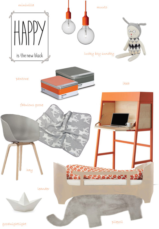 Stylish inspiration for kid's room décor, grey and orange, modern, elegant and happy