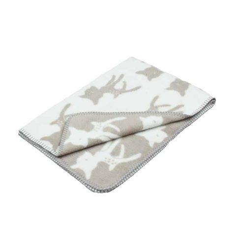 beige unisex designer baby blanket with bambi