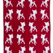 super soft baby cotton blanket with bambi in light blue and red