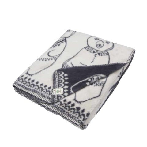 luxurious dark grey and sand organic cotton blanket with Greenland bears