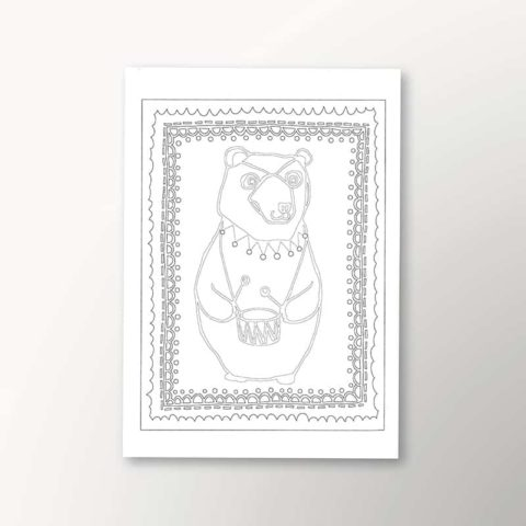 color your own art print with Circus Bear design