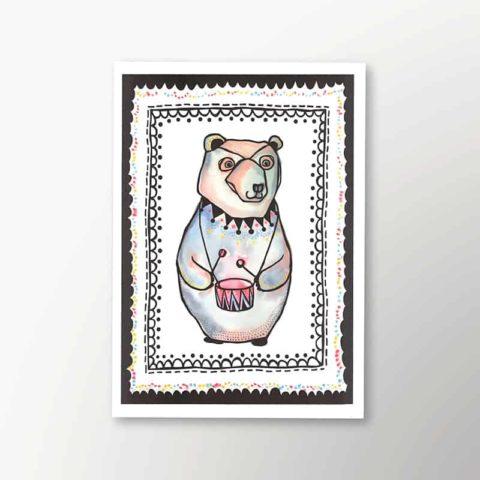 aquarelle art print with circus bear