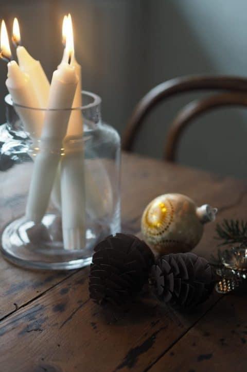 paper decorations pine cones