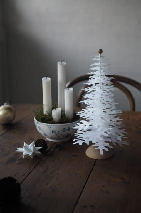 Advent decoration idea with white Christmas trees