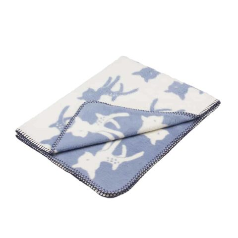 blue baby blanket with deer in super soft organic cotton