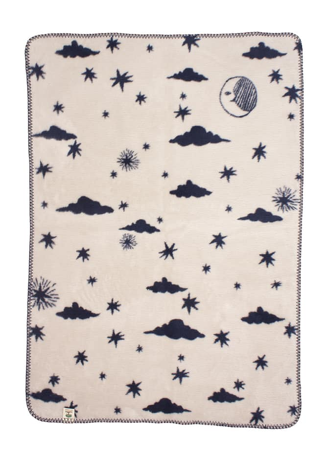 baby boy blanket with stars on the night sky
