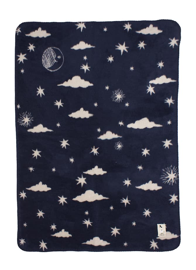 soft organic cotton baby blanket with stars in navy blue perfect for a space themed interior
