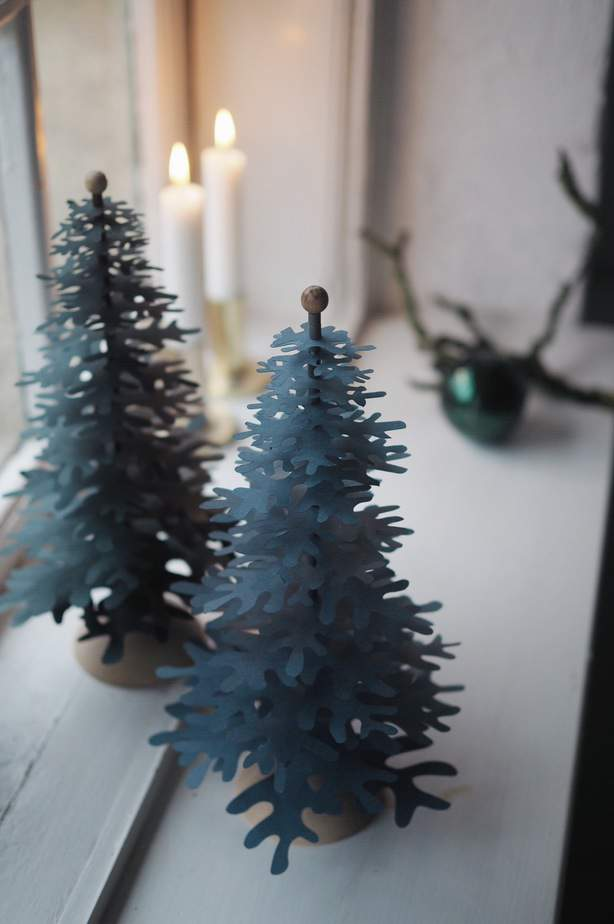 Scandinavian Christmas decorations standing trees paper ornaments