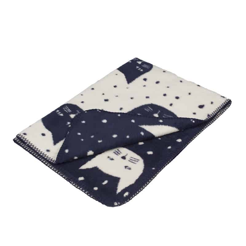 blanket for baby boy with cats navy blue off white snuggle soft cotton