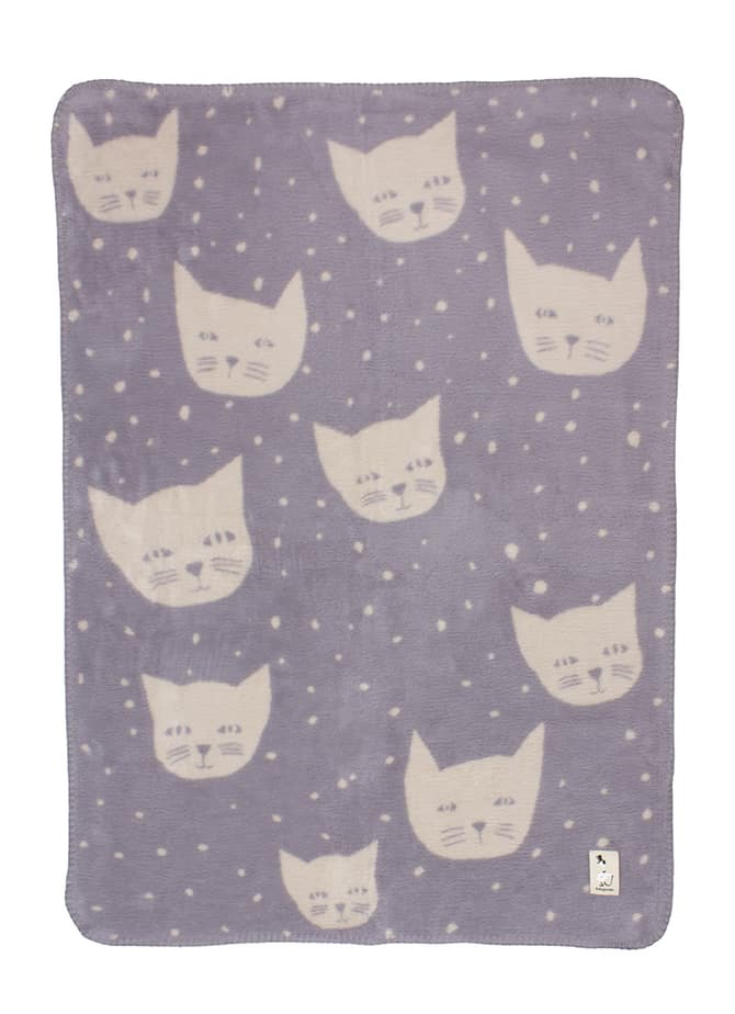 grey baby blanket unisex with cats in organic cotton