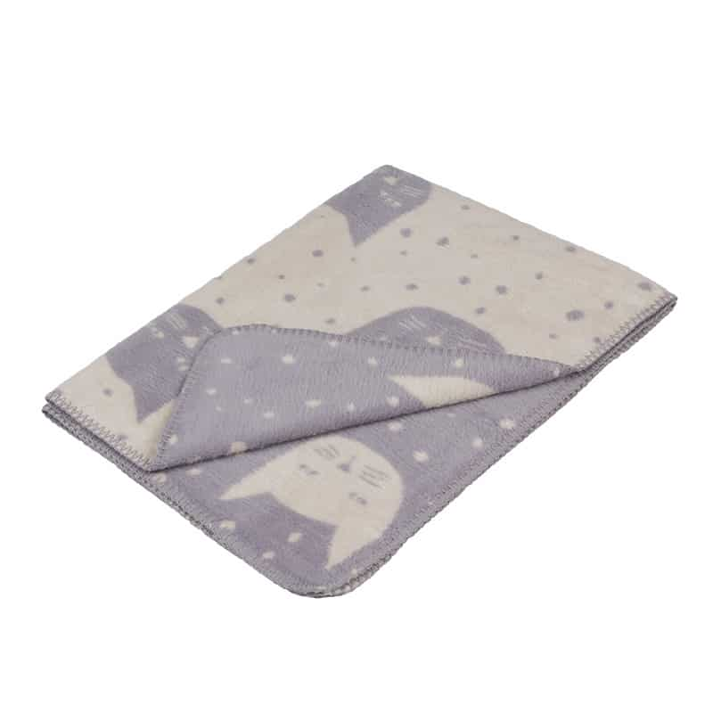 grey baby blanket in soft organic cotton with cats design