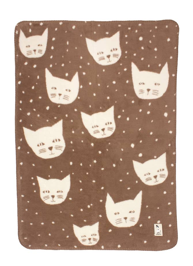 unisex baby blanket with cats soft and fluffy in organic cotton