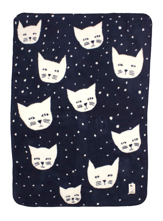 blanket for baby boy in navy blue with cats in soft organic cotton