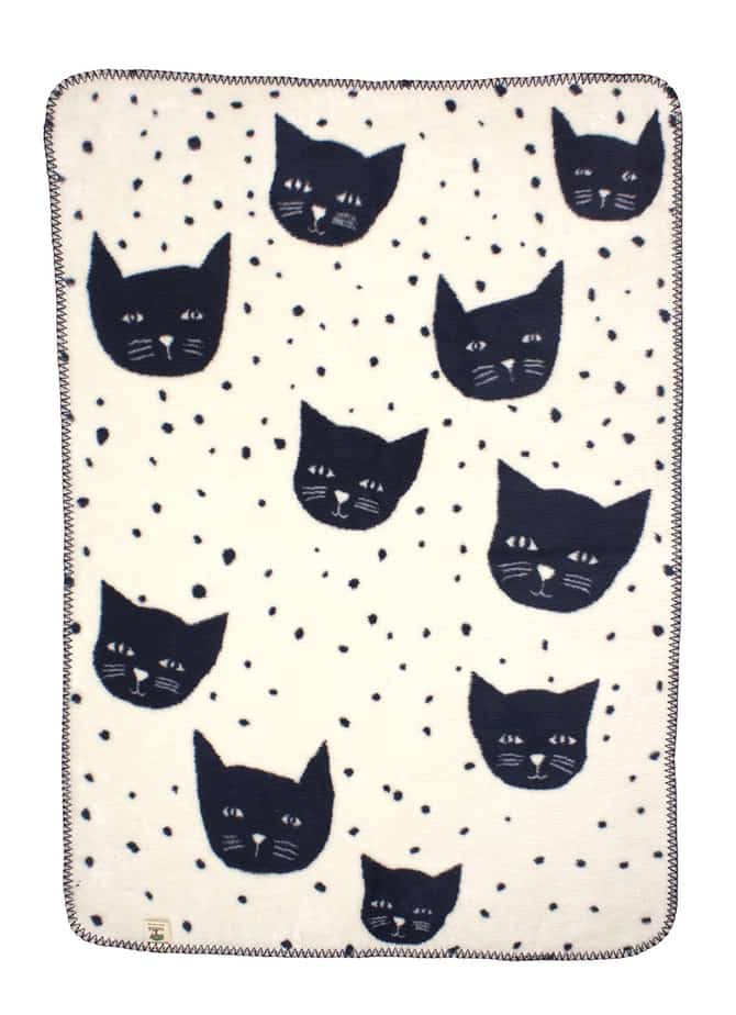 unisex baby blanket with cats off white navy blue snuggle soft cotton