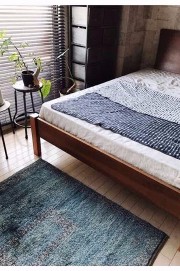 dark grey throw blanket in minimalist Scandinavian design