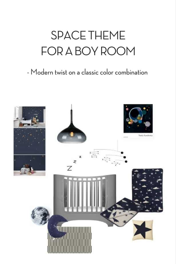 space theme for a boy room classic colors with a modern twist