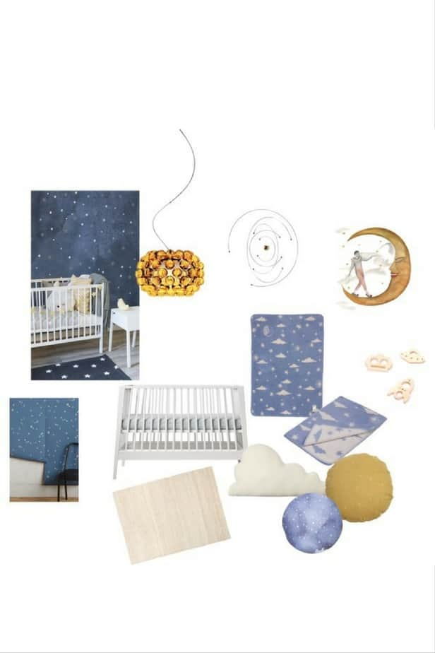 space theme for a toddler room with a modern color pallet of light blue and mustard yellow