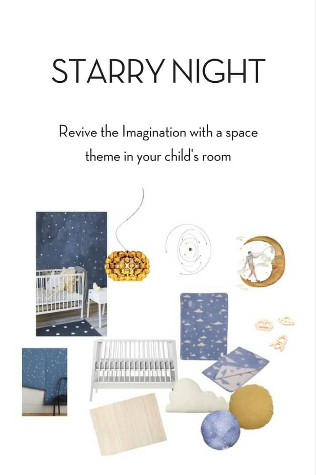 Starry Night space theme room decor with soft blue and curry yellow elements