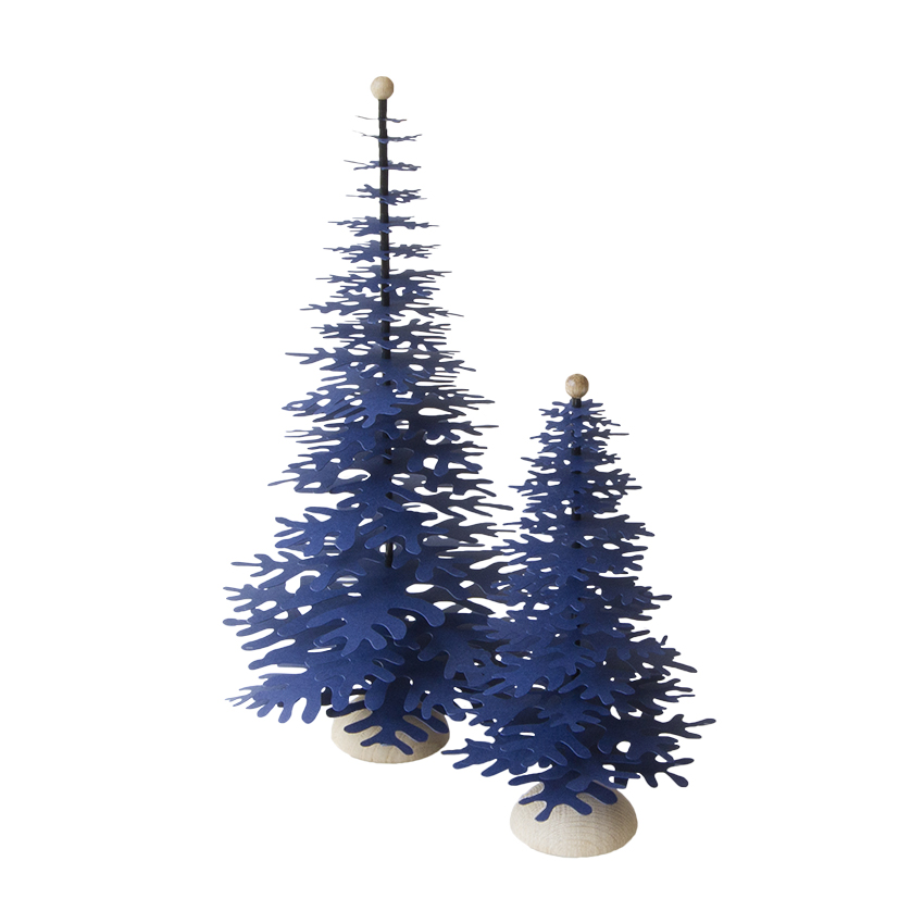 Dark blue paper Christmas tree - 3D easy to make decoration 2 sizes medium and big