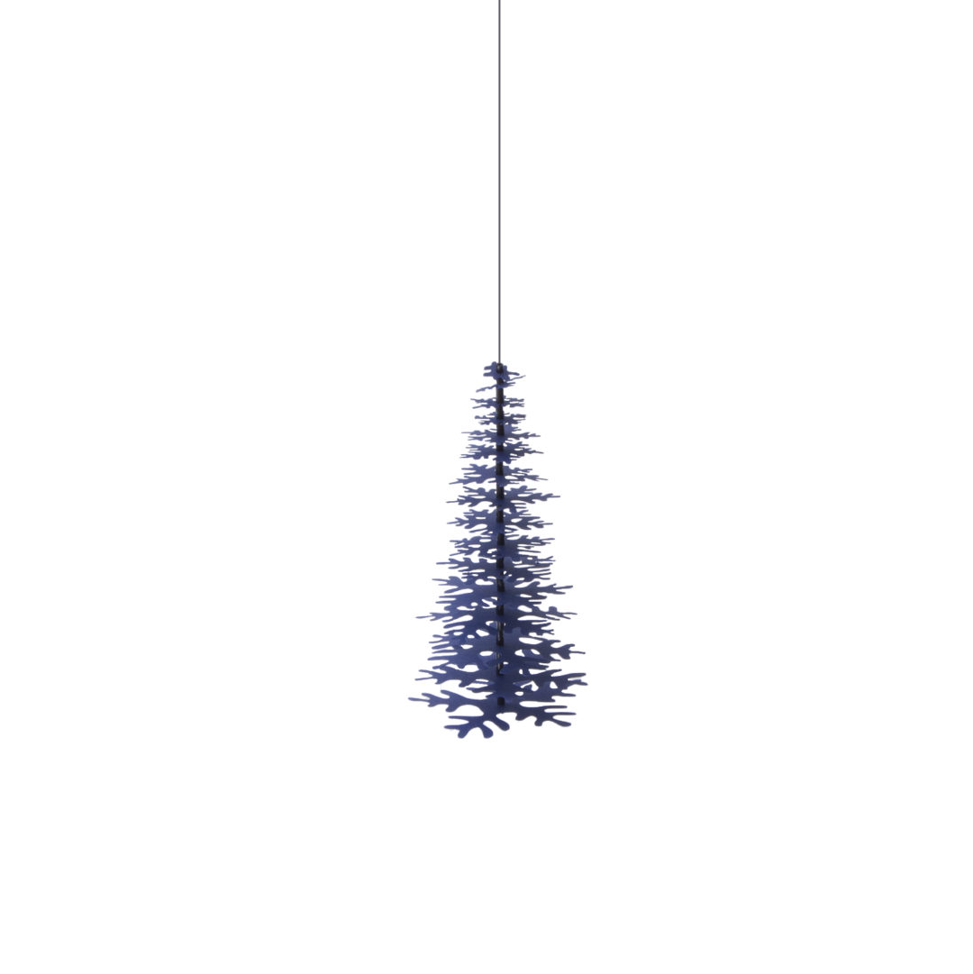 3D Christmas decoration - a hanging dark-blue Paper Tree medium