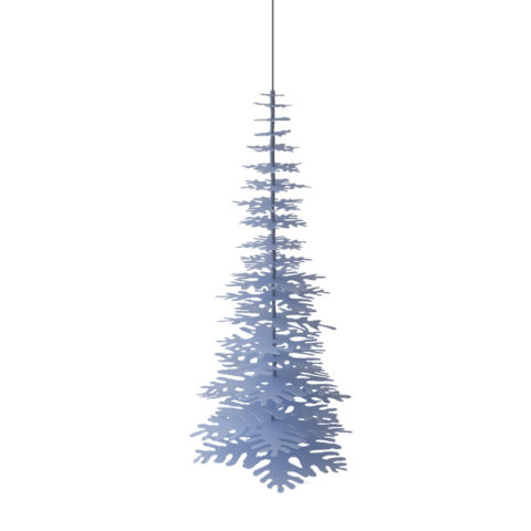 Big 3D Christmas decoration - a hanging light-blue Paper Tree that you can easily assemble.